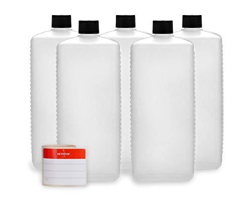 Bouteilles en plastique Octopus 5 x 1000 ml, bouteilles en plastique PE-HD avec bouchon à vis de noire, bouteilles vides avec bouchons à vis noire, bouteilles carrées. 5 étiquettes incluses.