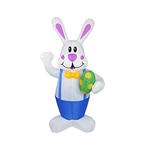 1,9 Meter Aufblasbarer Hase Für Ostern, Outdoor-Dekoration, Aufblasbares Kaninchen Mit LED-Lichtern, Aufblasbares Vordach Für Den Außenbereich, Für Party, Außenbereich, Rasen, Terrasse