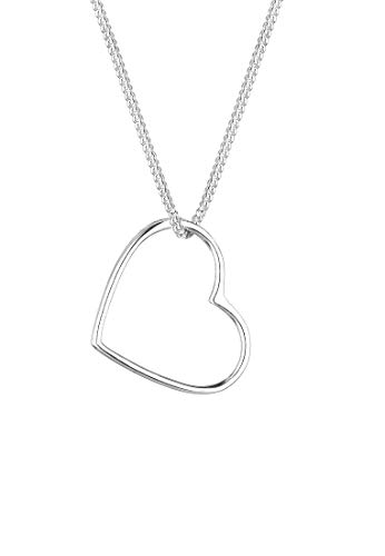 Elli Women's 925 Sterling Silver Heart Pendant Love Filigree Necklace, 45 cm length