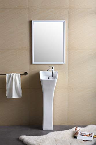 Fine Fixtures Windfield Pedestal, Elegant One Piece Pedestal Sink, Corner Faucet Hole, Vitreous China (White)