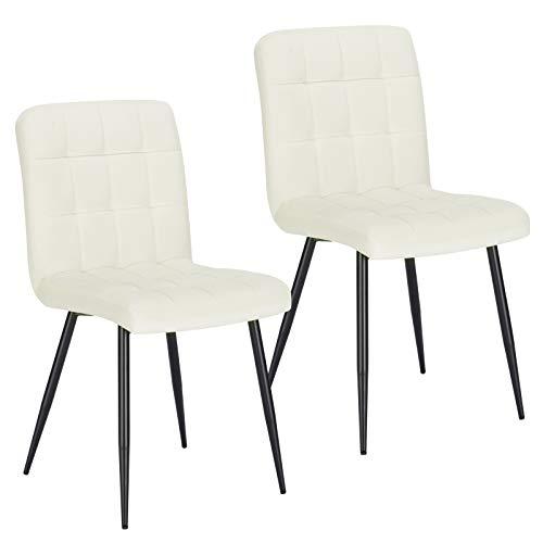 Lestarain 2X Sillas de Comedor Silla de Salón Dining Chairs Tapizadas Sillas de Cocina Nórdicas Asiento de Terciopelo Silla Bar Metal Silla de Oficina Crema