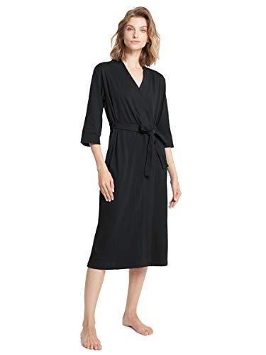 SIORO Cotton Robes Black Light Kimono Robe Long Knit Petite Bathrobe Soft Nightwear Lightweight Loungewear Nightdress V-Neck Sexy Sleepwear for Women, Black, Small