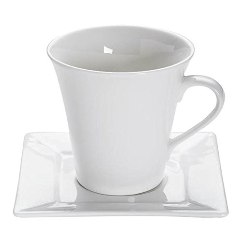 Maxwell & Williams Tasse mit Untertasse White Basics Square 240ml weiß Porzellan