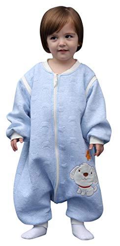 Happy Cherry - Saco de Dormir para Bebés con Pies Mono Entero Pijama de Algodón Suave para Invierno Otoño - Azul - 6-18 meses
