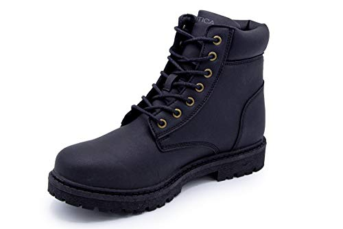 Nautica Men's Baylon Hikers, Work Boot, Ankle High Lace-Up-Black-9.5