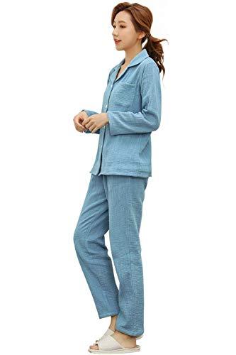 パジャマ 綿100% ダブルガーゼ 部屋着 ルームウェア ペア メンズ レディース 上下セット 長袖 吸汗 通気 肌触り優しい 天然素材 春 夏 秋 冬向き 水色 レディース L