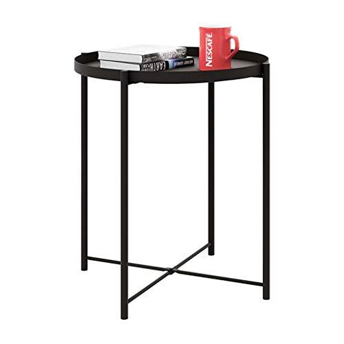 Mesa de centro pequeña diámetro de metal 45 * H53cm muebles decorados sala de estar balcón mesa de oficina y hogar pequeño volumen (Color: Negro, Tamaño: H53CM), Mesas auxiliares de sala de estar