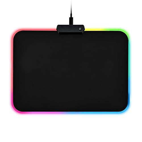 RGB Gaming Mouse Pad, LED Light up Soft Mousepad with 14 Lighting Modes, Anti-Slip Rubber Base and Waterproof Surface, Computer Keyboard Mouse Mat for Gamer,Office and Home 13.8 x 9.8 x 0.16 Inch