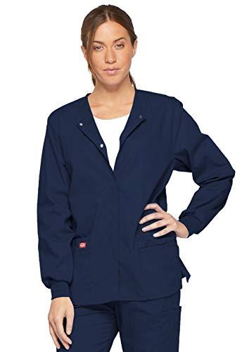 Dickies Women's EDS Signature Scrubs Missy Fit Snap Front Warm-Up Jacket, Navy, Medium