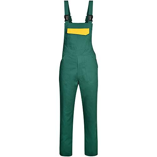 BWOLF ARES 100% Baumwolle Latzhose Herren Arbeitshose Schutz-Latzhose Arbeits-Latzhose (Grün, M)