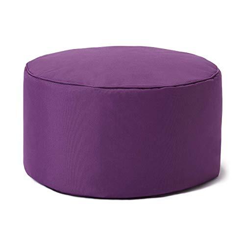 Lumaland Indoor Outdoor Sitzhocker 25 x 45 cm - Runder Sitzpouf, Sitzsack Bodenkissen, Rundhocker, Bean Bag Pouf - Wasserabweisend - Pflegeleicht - ideal für Kinder und Erwachsene - Lila
