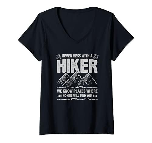 Mujer Funny Hiker Gift Hiking Lover Outdoor for Men Women Camiseta Cuello V