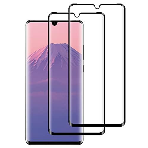 WISMURHI Cristal Templado para Huawei P30 Pro, [2 Pack] Vidrio Templado de Huawei P30 Pro Cobertura, Completa/Dureza 9H/3D Curvado/Anti Dactilares y Arañazos Protector de Pantalla para Huawei P30 Pro