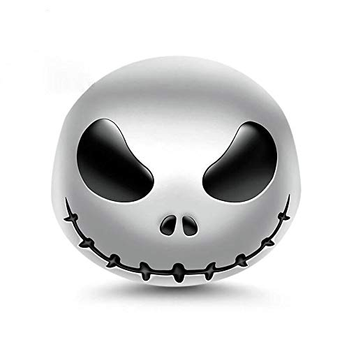 Bolenvi Jack Skellington Nightmare Before Christmas Halloween 925 Sterling Silver Charm Bead for Pandora & Similar Charm Bracelets or Necklaces