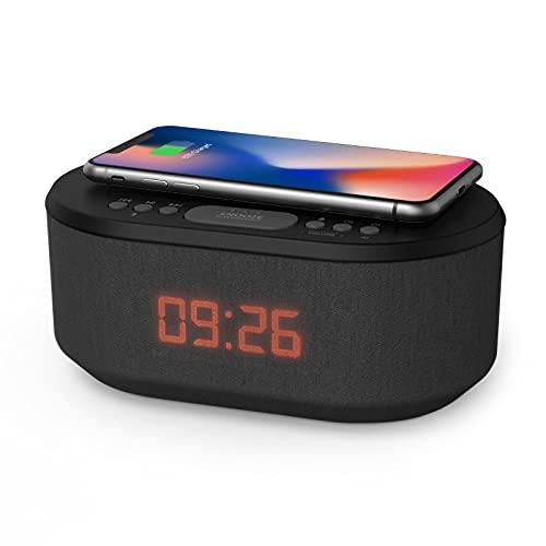 Radiowecker Digital mit USB-Ladegerät, Bluetooth-Lautsprecher, Kabelloses Laden, Wecker Digital Alarm Clock mit dimmbares LED-Display – Netzbetrieb Digitaler Wecker ohne Ticken (Schwarz)