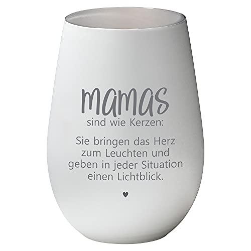 weißes Windlicht -Mamas sind wie Kerzen- aus Glas - Geschenkidee Mutter von Tochter Sohn Deko Teelicht