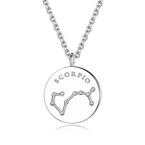 VIKI LYNN Women Girls 925 Sterling Silver CZ Scorpio Zodiac Star Sign Necklace