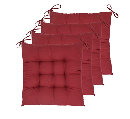 """ELFJOY Set of 4 Solid Square 16"""" x 16"""" Tufted Chair Pads Indoor Seat Cushions Pillows with Ties (Burgundy)"""