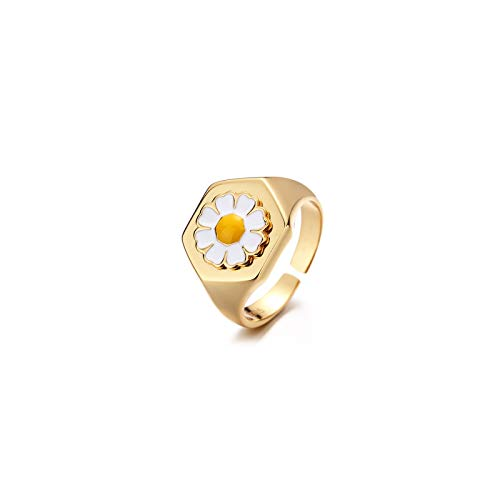 CRYPIN Retro European and American S925 Silver Ring Female Little Daisy Tulip Summer Flower Ring Fashion Personality Ring