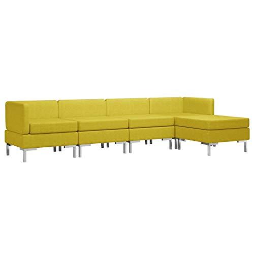 vidaXL Sofagarnitur 5-TLG. Stoffsofa Loungesofa Couch Polstersofa Sofa Couchgarnitur Polstergarnitur Sitzmöbel Mittelsofa Ecksofa Fußhocker Stoff Gelb
