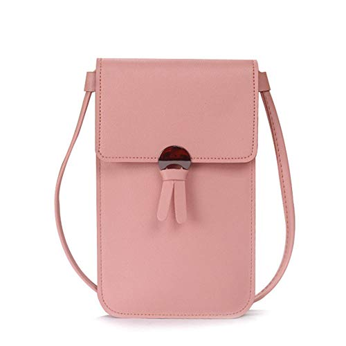 XLSM Lightweight Leather Phone Purse, Small Crossbody Bag Mini Cell Phone Pouch Shoulder Bag for Women (Pink)