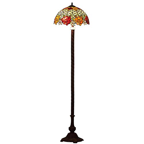 DSHBB vloerverlichting, 16 inch rode rozenvloerlamp in Tiffani-stijl met glazen lampenkap, modern standing Light voor Living Rooms, bar, slaapkamer, E27 * 2 40W