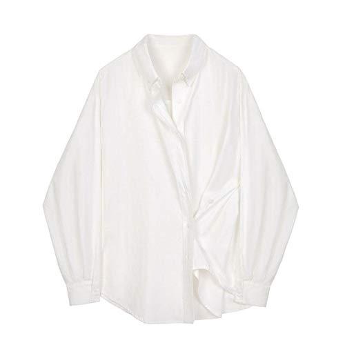 Camisa de cuello cuadrado de rayas para mujer 2021 camisa de manga de un solo pecho Tops - blanco - X-Small