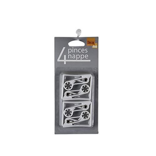 Decor Line 1720372 Lot de 4 Pinces Plastique Blanches pour Nappes Fer Blanc 5.3 x 6 cm