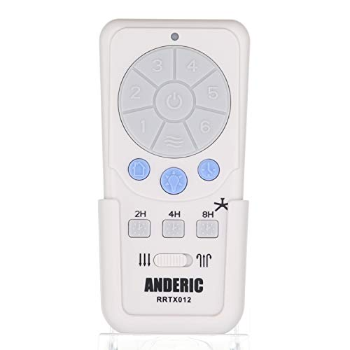 Anderic A25-TX012 Replacement for Harbor Breeze Remote Control - Works Mazon, Kingsbury, Wakefield, Portes, Saratoga Ceiling Fans with 6-speed DC - HBR001 - RRTX012