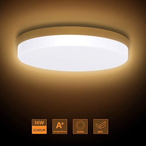 Ouyulong LED Deckenleuchte 36W 3000K 3240LM, Für Wohnzimmer,Schlafzimmer,Balkon -Super helle Deckenleuchte, Deckenleuchte Wohnzimmer Warmes gelb 230×230×40 mm