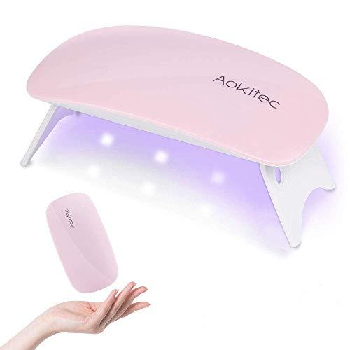 Aokitec - Lámpara de uñas de gel portátil con forma de ratón, con USB, para todos los esmaltes de uñas, secador de uñas con 2 temporizadores