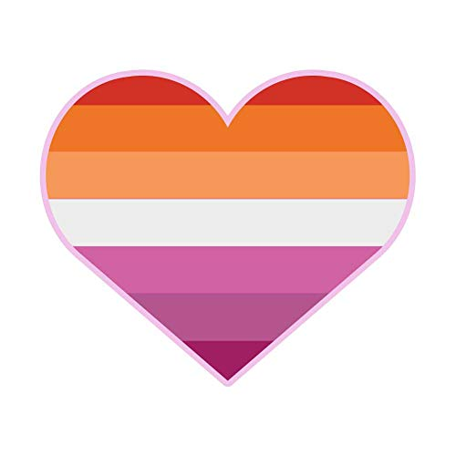 Dark Spark Decals Alternate Flag Lesbian LGBT Pride Heart - 4 Inch Full Color Vinyl Decal for Indoor or Outdoor use, Cars, Laptops, Décor, Windows, and More