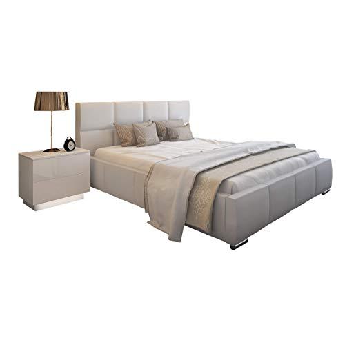 Bett Doppelbett SARA mit Lattenrost aus Metallrahmen und Bettkasten Polsterbett Bettgestell Schlafzimmer (140 x 200 cm)