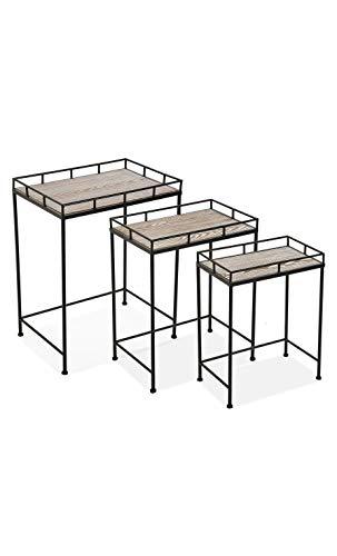 Versa Beistelltisch für die Terrasse, Set mit 3 Tischen Viggo