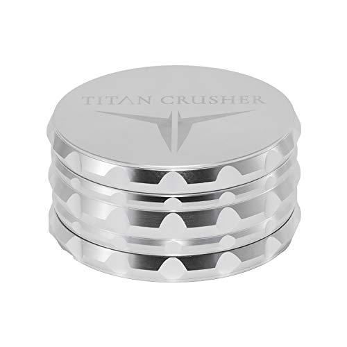 "TITAN CRUSHER - Best Herb Grinder [Upgraded Version] II Large 4 Piece with Locking Tray II 76 Diamond Sharp Teeth II 4"" L Silver Anodized Aluminium"