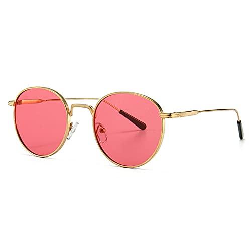 Tanxianlu Gafas de Sol Redondas de Metal para Hombre, Retro, Dorado, Verde, Uv400, Gafas de Sol Circulares clásicas para Mujer, Regalo para Hombre, Verano,1