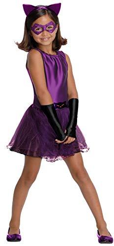 DC Super Villain Collection Catwoman Girl's Costume with Tutu Dress, Medium