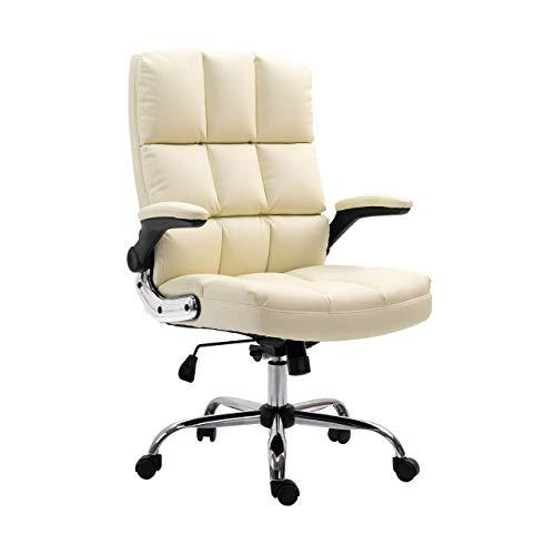 Mendler Bürostuhl HWC-J21, Chefsessel Drehstuhl Schreibtischstuhl, höhenverstellbar - Kunstleder Creme