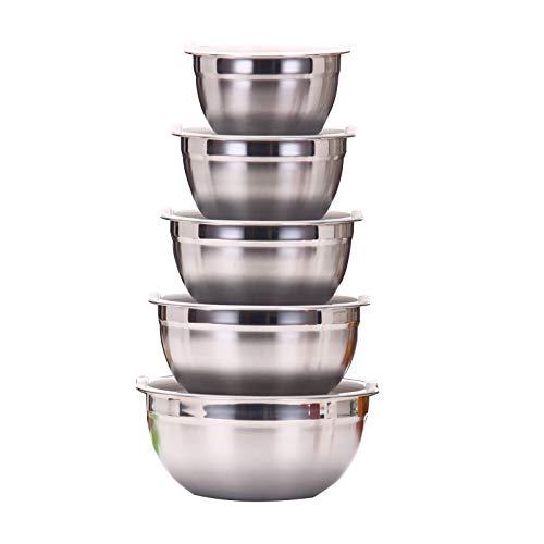 NanNew Rührschüsselset, 5-teilige Küchenutensilien mit Nistschalen aus Edelstahl, Messbecher und Löffel, Wiederverwendbare Silikon-Stretchdeckel