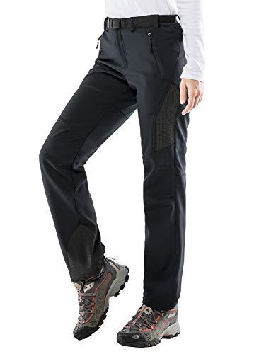 MIER Women's Warm Softshell Pants Fleece Lined Winter Pants Water Resistant Hiking Pants, 4 Zipper Pockets, Black, M