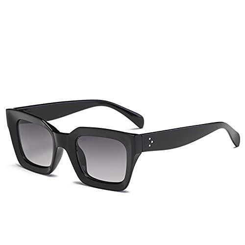 MINGQIMY Gafas de Sol Classic Square Gafas de Sol Mujeres Hombres Vintage Retro Rectángulo de Lujo Marca de Lujo Damas Gafas de Sol al Aire Libre (Lenses Color : Black Gray)