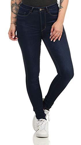 ONLY Damen High-Waist Jeans ONLRoyal Life schmales Bein 15195345 Dark Blue Denim L/32