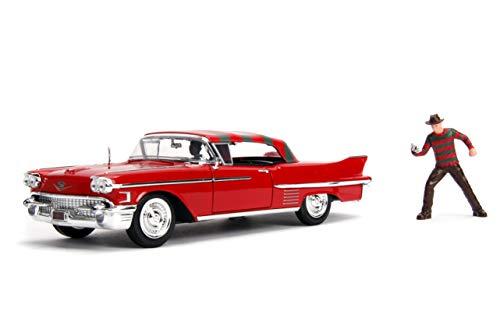 Jada Toys Freddy Krüger 1958 Cadillac Series 62, Auto, Spielzeugauto aus Die-cast, öffnende Türen, Kofferraum & Motorhaube, inkl. Freddy Krüger Figur aus Druckguss, Maßstab 1:24, rot, 253255004