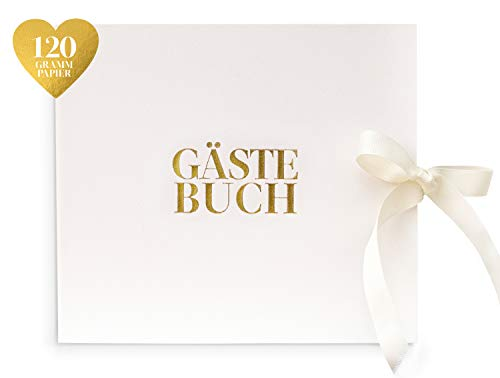 Leder Design Gästebuch | Edles Cover modern weiß | Hochwertige Gold Folie Schrift Veredelung | 84 Seiten leer blanko | Schleife als Accessoire | Hochzeit Taufe Feier | Wedding Guestbook