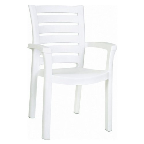 Compamia Marina Resin Patio Dining Arm Chair in White, Commercial Grade