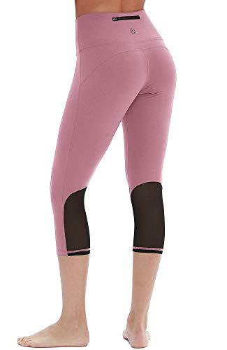 icyzone Damen Sport Mesh Leggings - 3/4 Sporthose kurz Training Tights Fitness Capri Yoga Pants (M, Cameo Pink)