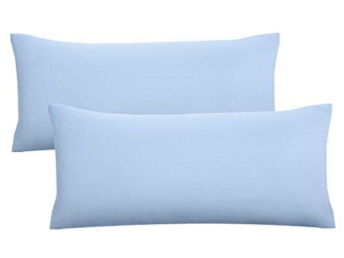 biberna 0077144 Feinjersey Bettwäsche Kopfkissenbezug (Baumwolle) 2x 40x80 cm, blau