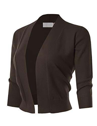 MAYSIX APPAREL 3/4 Sleeve Solid Open Bolero Cropped Cardigan for Women Brown M