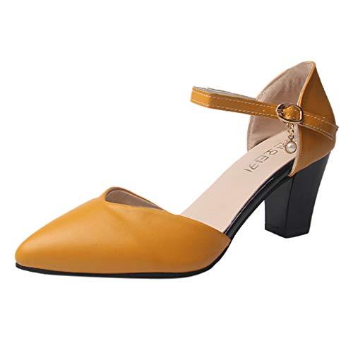Damen Pumps Slingpumps Spitz Knöchelriemen Mittelhohem Blockabsatz, Bequem Spangenpumps Riemchenpumps Elegante Schuhe Frühling Sommer Sandalen Celucke