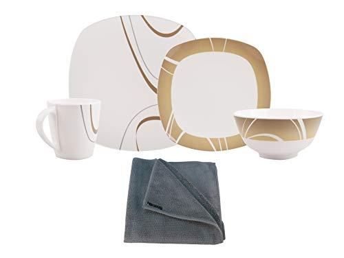 HEKERS 100 % melamina Cappuccino, juego de 24 piezas, para 6 personas, color marfil/marrón, rectangular, 1 x paño de microfibra de Hekers gris, exterior, picnic, camping, apto para lavavajillas